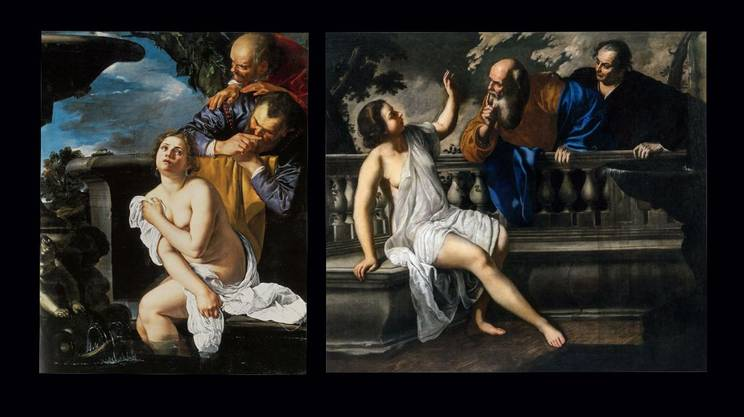 Due versioni di 'Susanna e i vecchioni' di Artemisia Gentileschi: del 1622 (a sinistra) e del 1652 (a destra)
