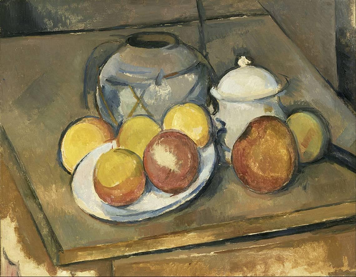 Vaso impagliato, zuccheriera e mele, 1890-1894