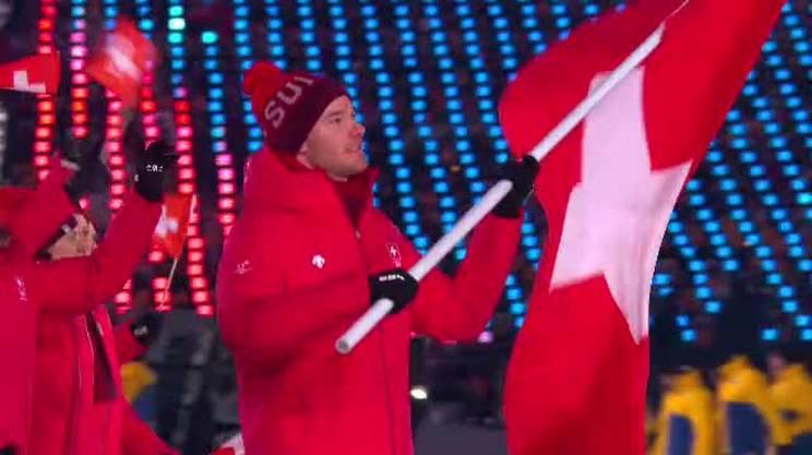 La sfilata della delegazione elvetica alla cerimonia di apertura delle Olimpiadi