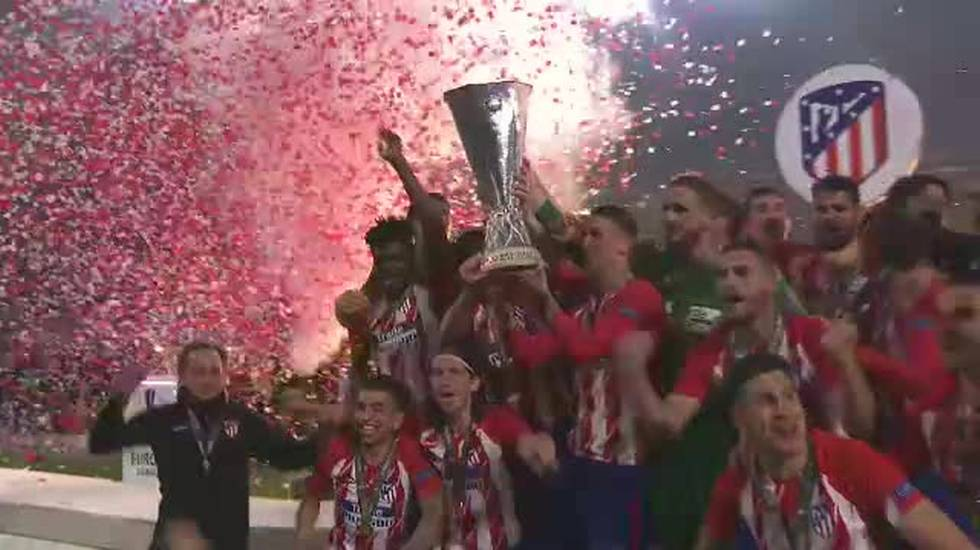Europa League, la consegna del trofeo all'Atletico Madrid (16.05.2018)