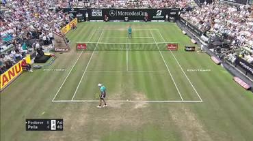 ATP Stoccarda, il match point di Federer - Pella (15.06.2018)