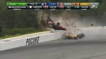 IndyCar, il tremendo incidente di Robert Wickens (19.08.2018)