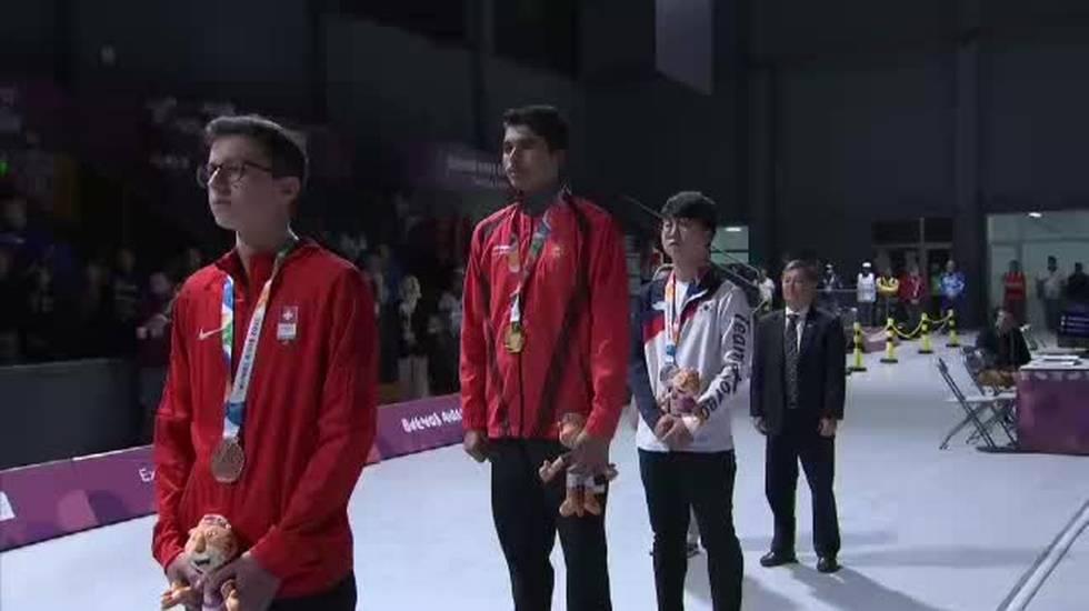 Giochi Olimpici della Gioventù, la premiazione di Jason Solari (11.10.2018)