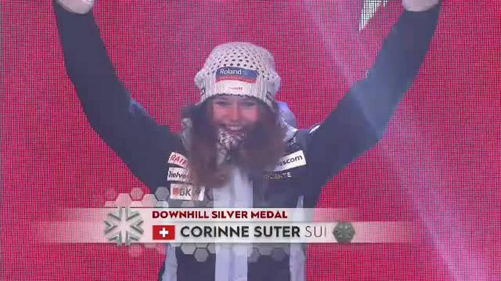 Mondiali di Are, la premiazione della discesa femminile (10.02.2019)