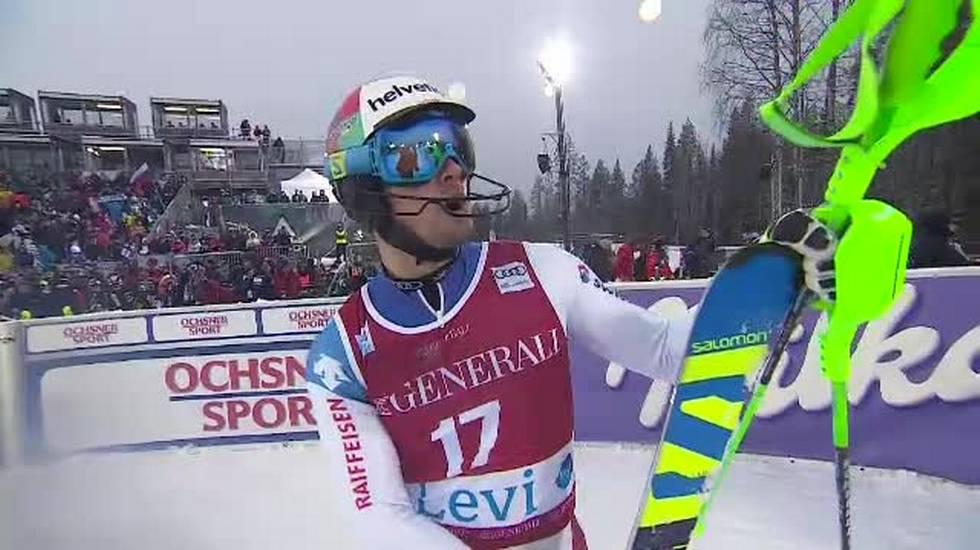 Slalom di Levi, la seconda manche di Luca Aerni (12.11.2017)