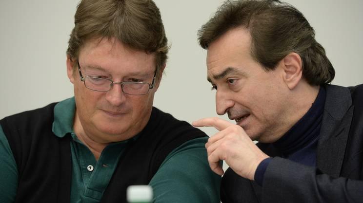 Alla conferenza stampa:il geologo Lüchinger e il sindaco di Lugano Borradori