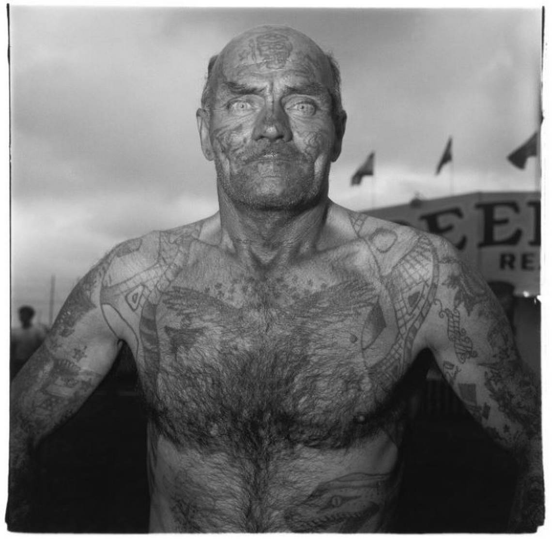 Diane Arbus, Tattoed Man at a Carnival, 1970