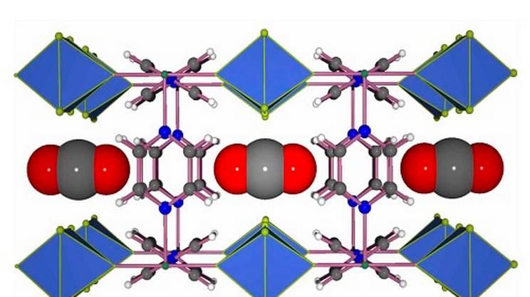 Esempio di MOF in grado di catturare il CO2 (le sfere rosse e grigie)