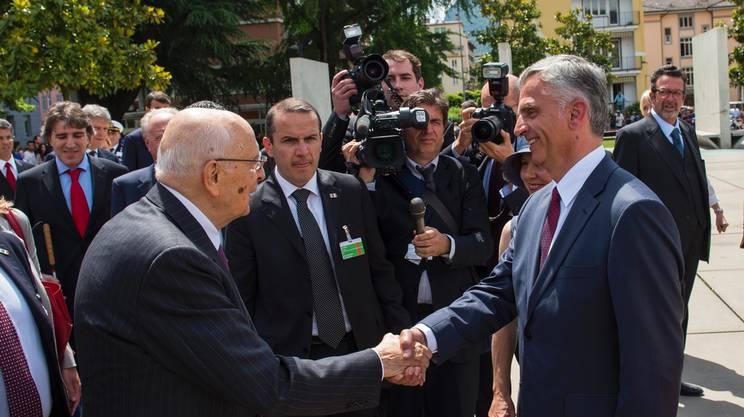 Giorgio Napolitano incontra Didier Burkhalter a Lugano, nel maggio 2014