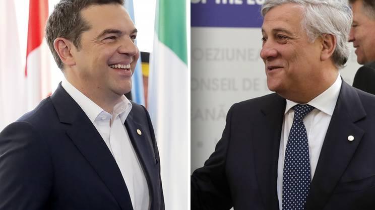 Il primo ministro greco Alexis Tsipras (s) e il presidente del parlamento europeo Antonio Tajani (d)