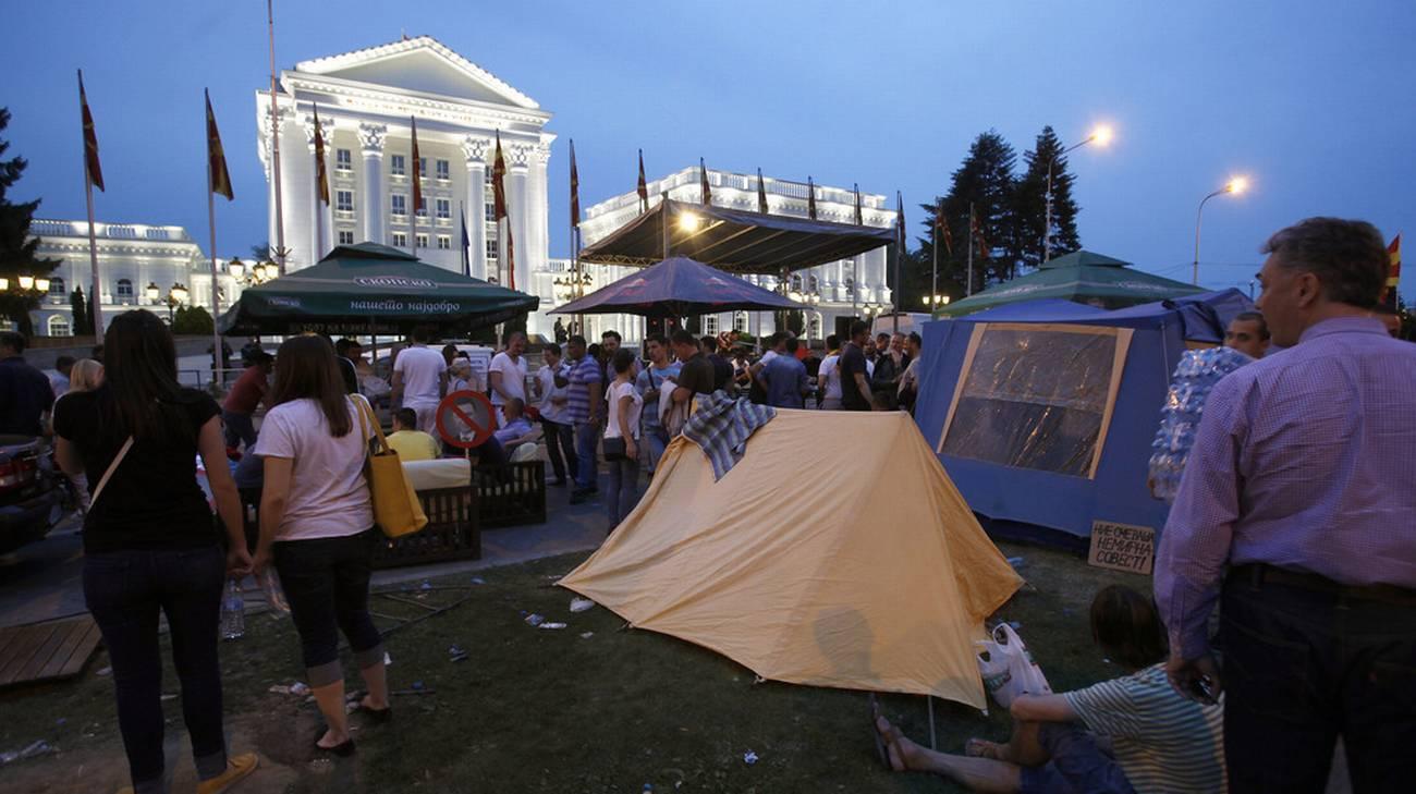 L'opposizione manifesta a Skopje