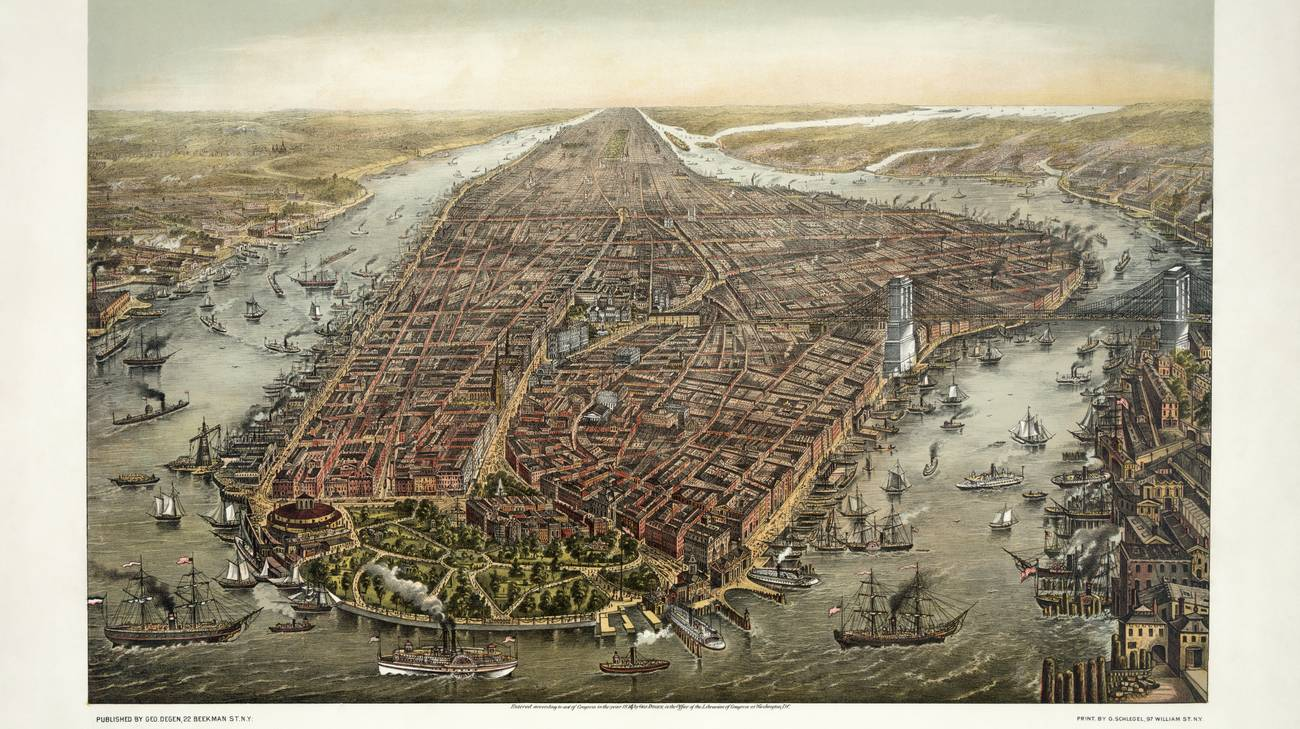 Panorama di Manhattan nel 1873 di George Schlegel