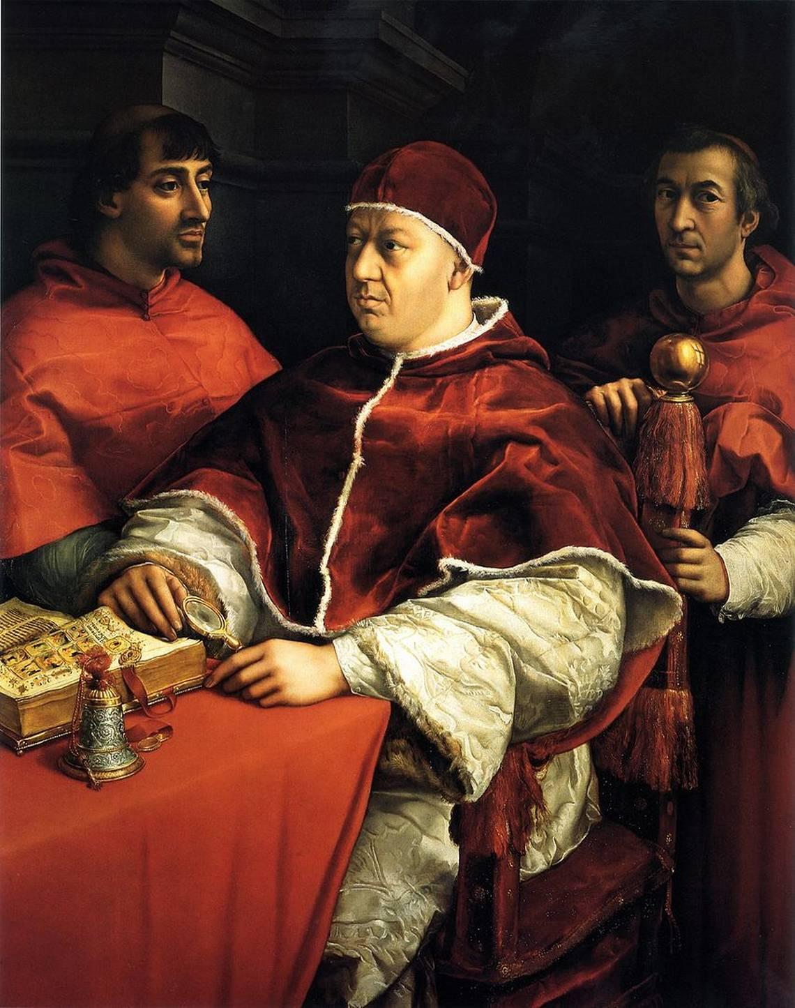 Raffaello Sanzio, Ritratto di Leone X con i cardinali Giulio de' Medici e Luigi de' Rossi, 1518