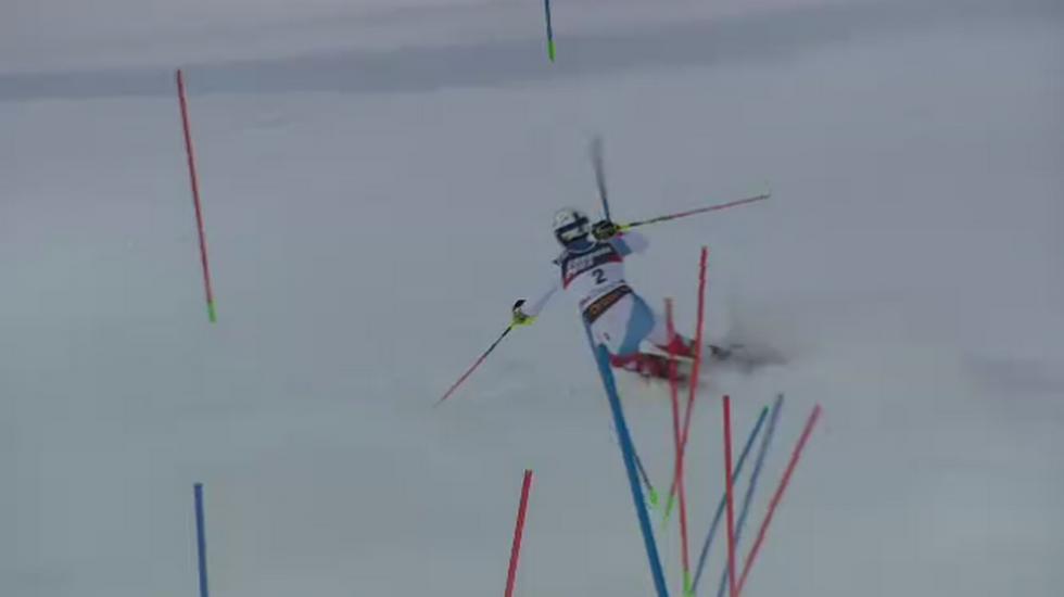 Slalom maschile di Zagabria, Ramon Zenhäusern imbocca la tripla al contrario e Mauro Pini si dispera (06.01.2019)