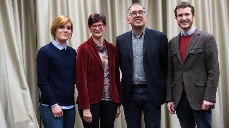 Da sinistra, i candidati PS Mattea David, Cristina Zanini Barzaghi, Aurelio Sergenti e il candidato del partito comunista Edorardo Cappeletti