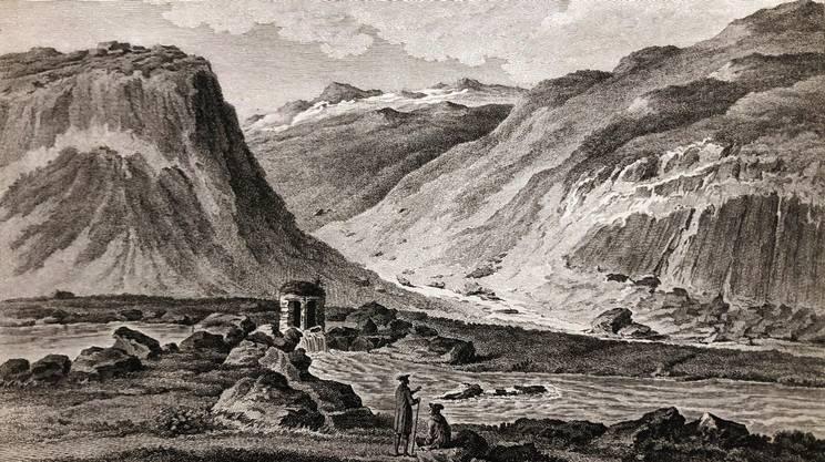 Tableau fonte Fiume Ticino sul Gottardo