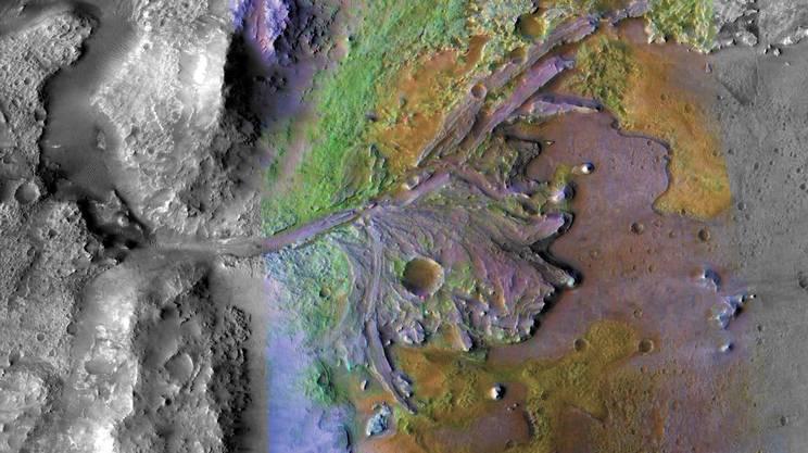 Il cratere Jezero, su Marte, luogo dell'atterraggio di Perseverance