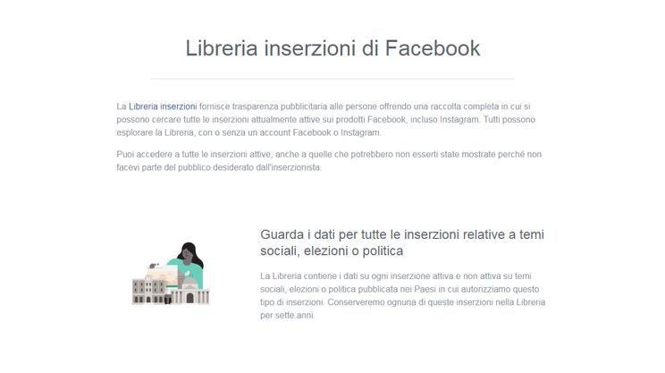 La Ad Library di Facebook per la Svizzera. A differenza di altri Paesi, come gli Stati Uniti, qui manca la voce