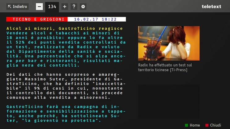 Il Teletext tradizionale è arricchito da immagini