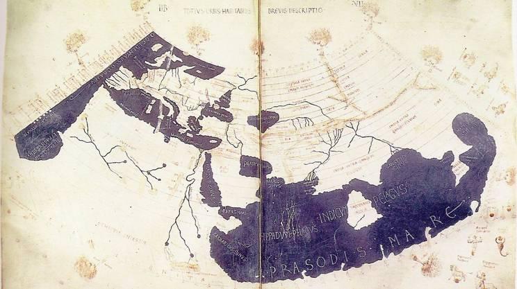 La mappa dell'oikoumenè (mondo abitato) di Tolomeo (Wikipedia)