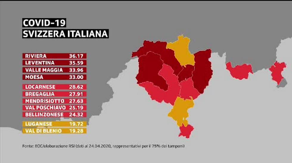 Cartina Canton Ticino Svizzera.Le Localita Piu Colpite Dal Coronavirus Rsi Radiotelevisione Svizzera