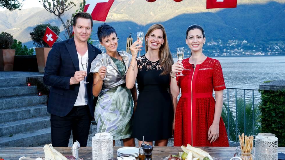 Sven Epiney (SRF), Clarissa Tami (RSI), Katia Hess (RTS) e Maria Victoria Haas (RTR)