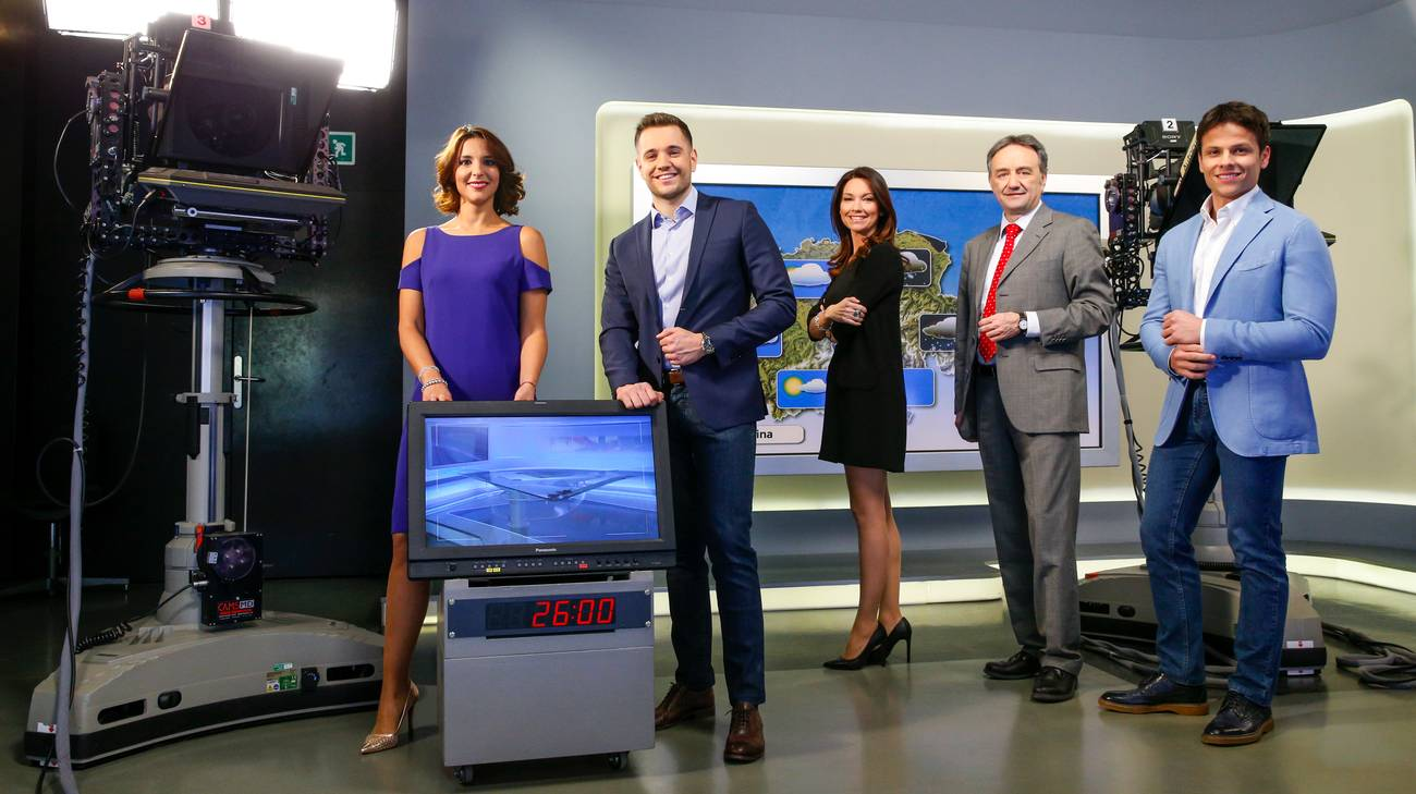 Il team Meteo RSI: Rosita Orlando, Enea Zuber, Simona Bernasconi, Piernando Binaghi e Alessio Scalmazzi