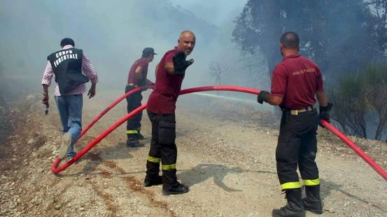 In fiamme le colline sopra Palermo