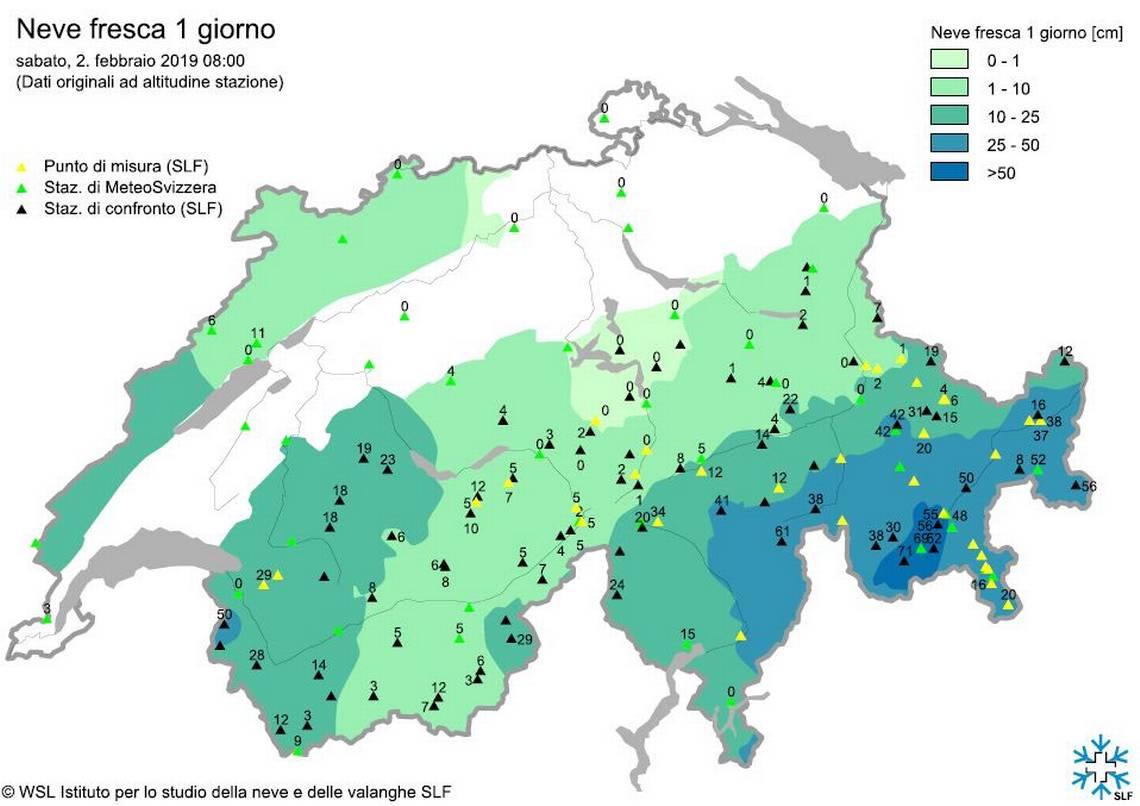 Quanta neve è scesa nelle varie regioni in 24 ore