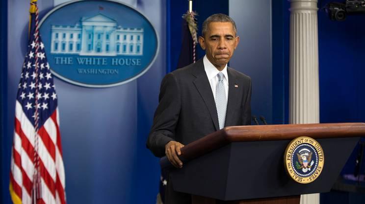 Barack Obama durante la prima dichiarazione sugli attacchi