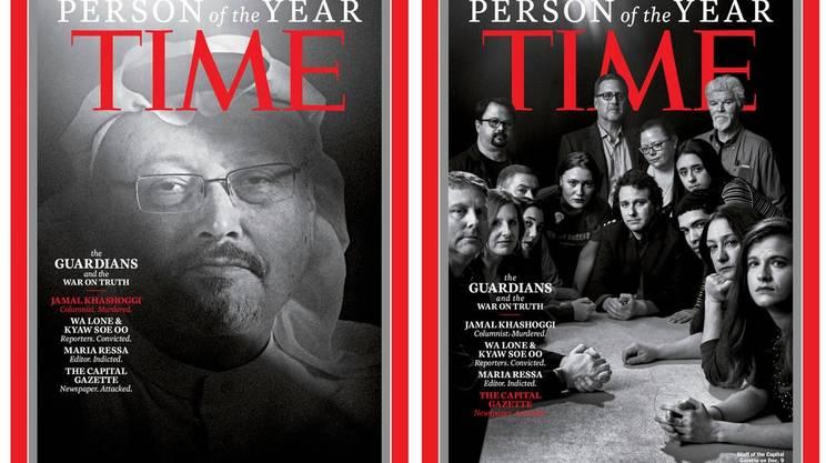 Due delle quattro copertine. A sinistra: Jamal Khashoggi. A destra: la redazione del Capital Gazette