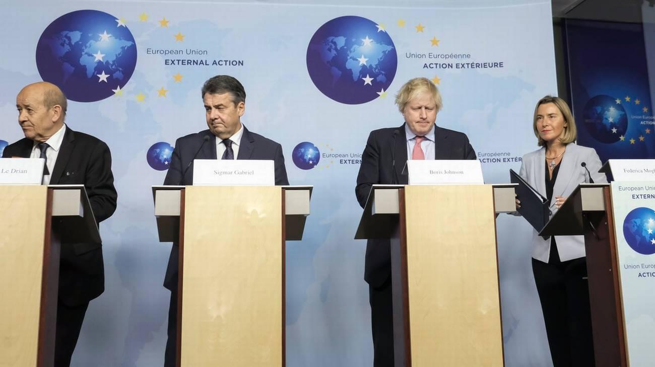 Federica Mogherini con i Ministri degli esteri britannico, francese e tedesco