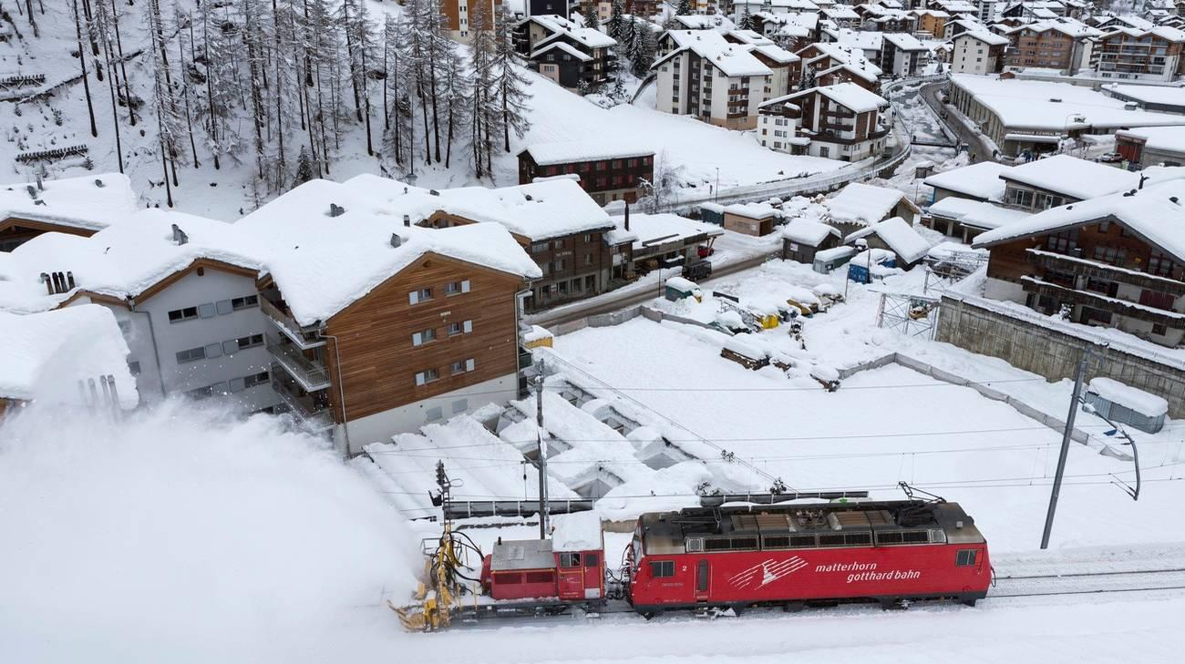I binari della località vallesana erano stati bloccati dalla neve nei giorni scorsi