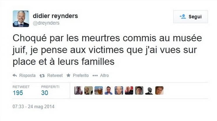 Il messaggio diffuso in Twitter dal ministro belga Didier Reynders