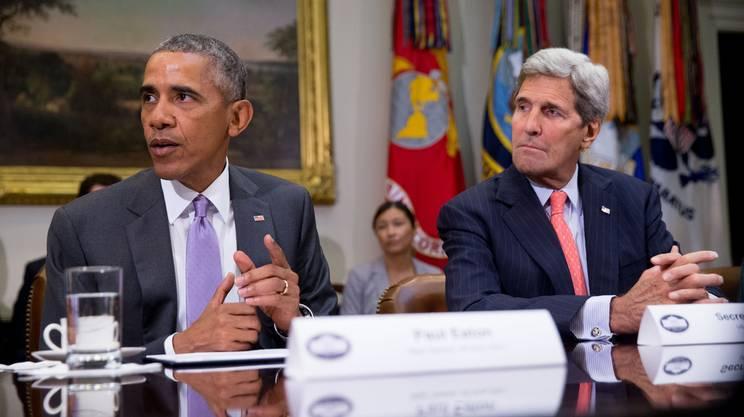 Il presidente Obama con il segretario di Stato John Kerry