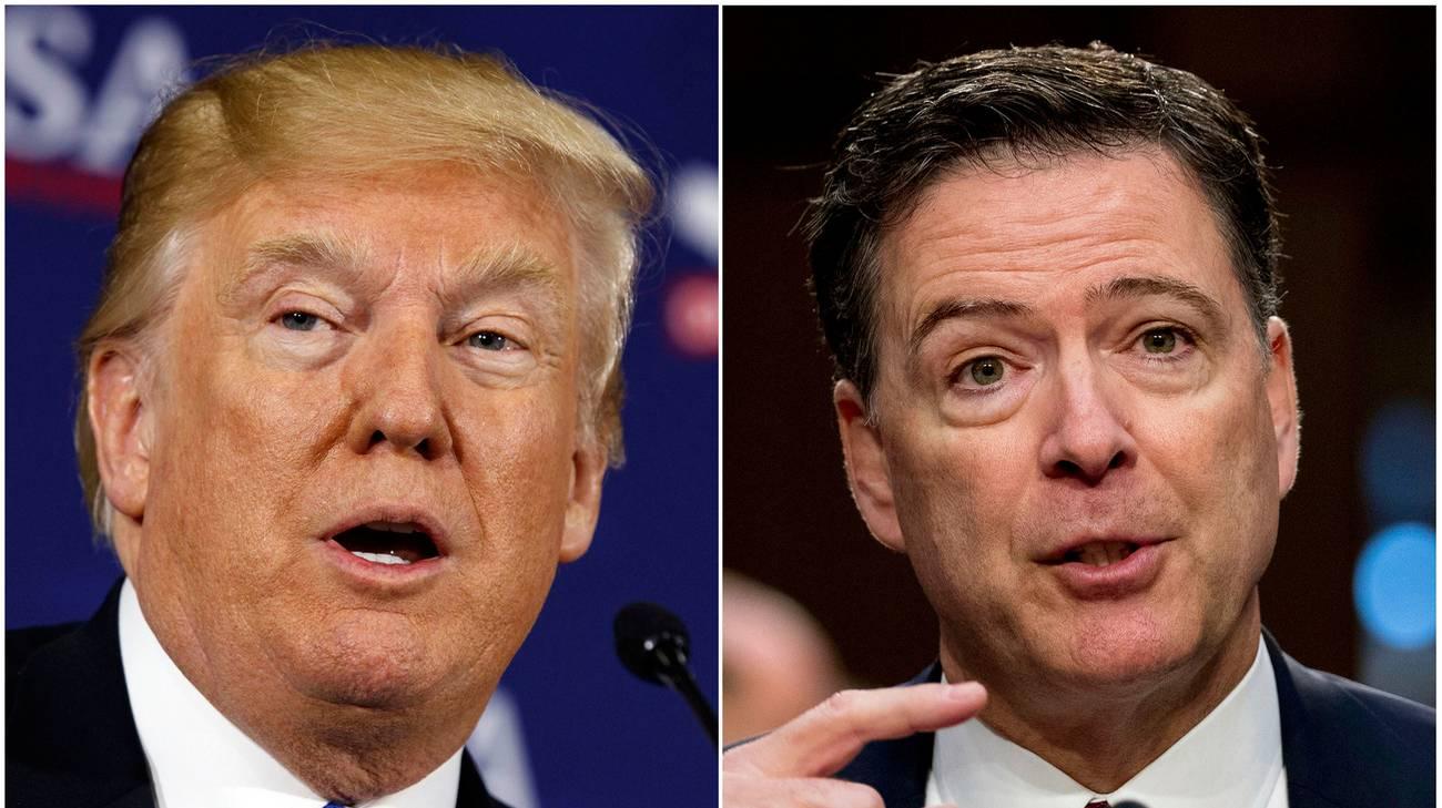 Il presidente Trump e l'ex numero uno dell'FBI, James Comey