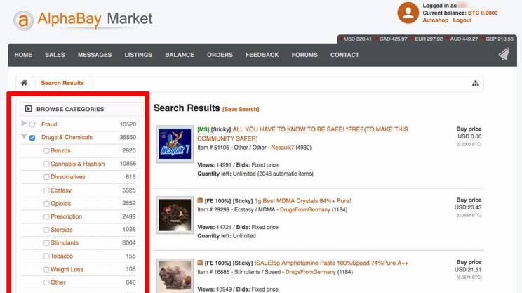 Il sito AlphaBay, il più famoso dei darknet market: supermercati online ai quali si accede solo con programmi che permettono di rimanere anonimi.