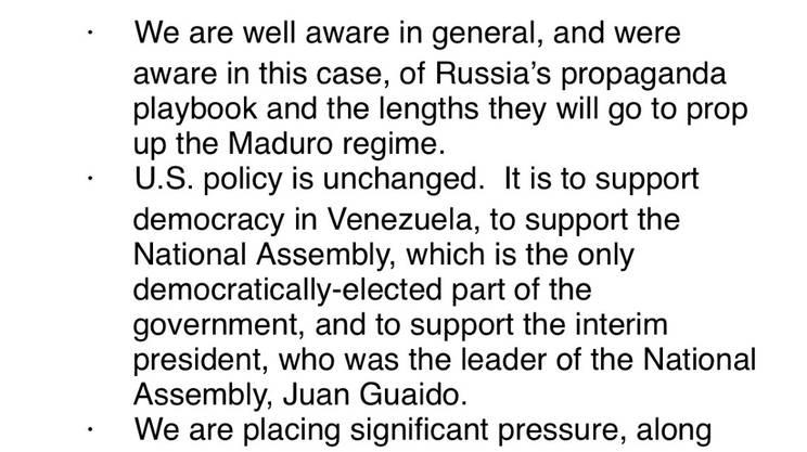 Il testo email con la risposta del Dipartimento di Stato USA