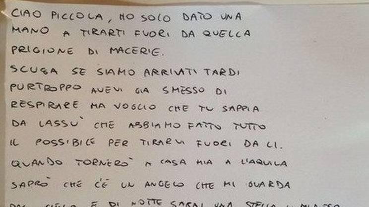 La lettera di un vigile del fuoco a una piccola vittima del recente terremoto in Italia (clicca sull'immagine per ingrandirla)