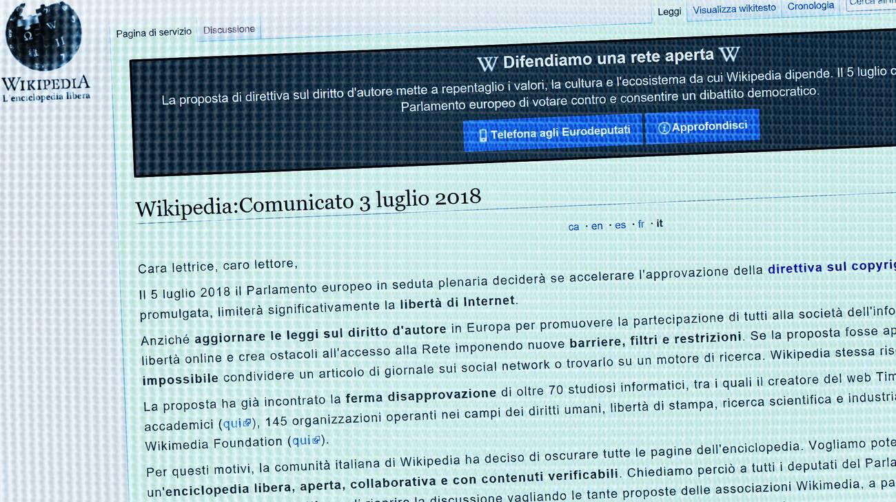 La nuova direttiva, se promulgata, limiterà significativamente la libertà di internet, secondo Wikipedia