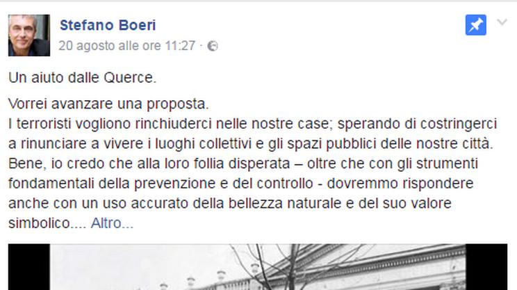 La proposta pubblicata sui social network dall'architetto Boeri