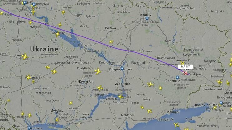 La rotta sul territorio ucraino seguita dal volo MH17.