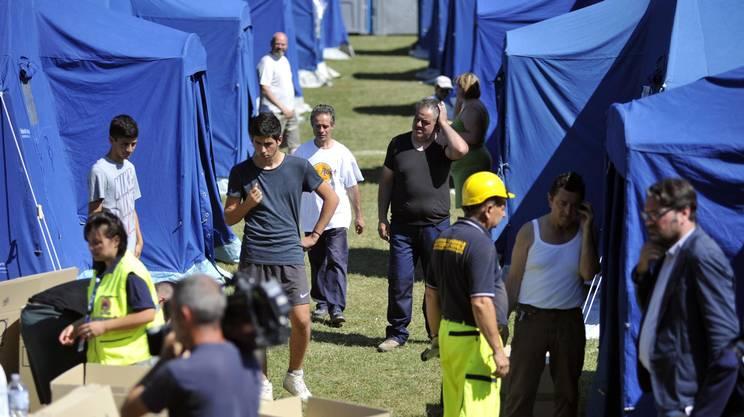 La tendopoli allestita per gli sfollati dalla protezione civile nei pressi di Arquata del Tronto