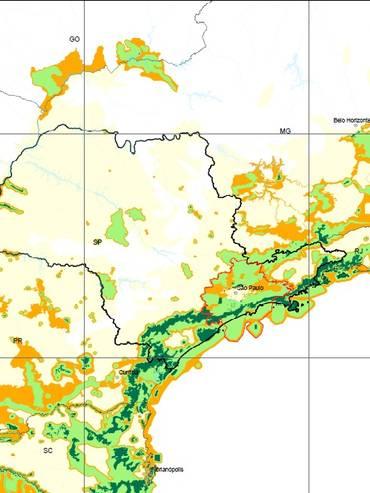 Le Foreste atlantiche si estendono tra lo Stato di Rio Grande do Norte e il Rio Grande do Sul, spingendosi verso l'interno fino al Paraguay e all'Argentina