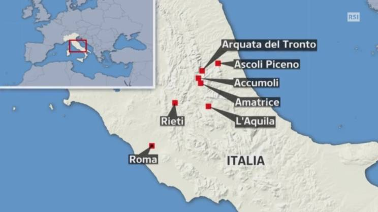 Le località colpite dal sisma