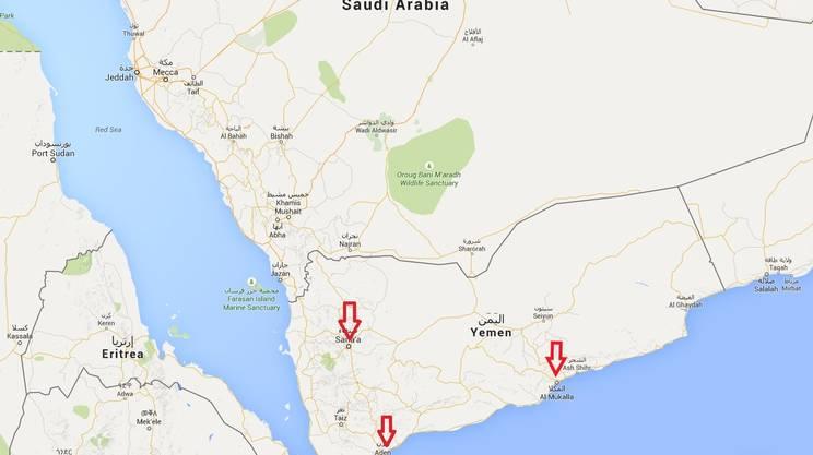 Lo Yemen, con la capitale Sanaa e i porti di Aden e Mukallah