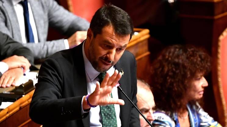 Matteo Salvini durante il suo intervento al Senato