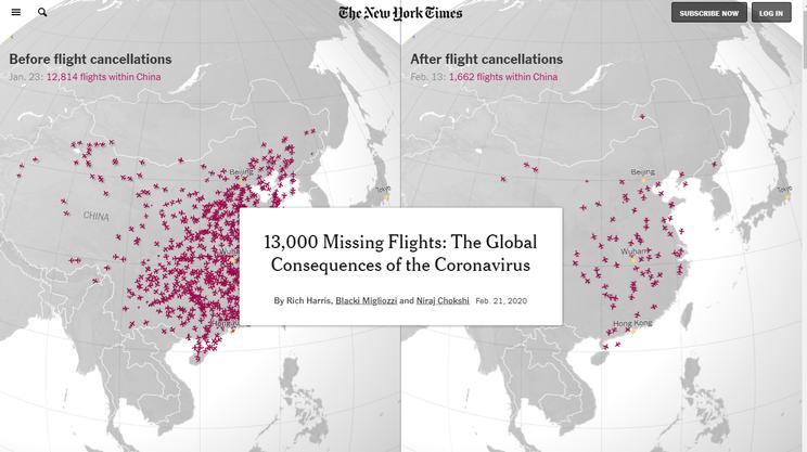 Un fermo immagine dell'animazione del New York Times