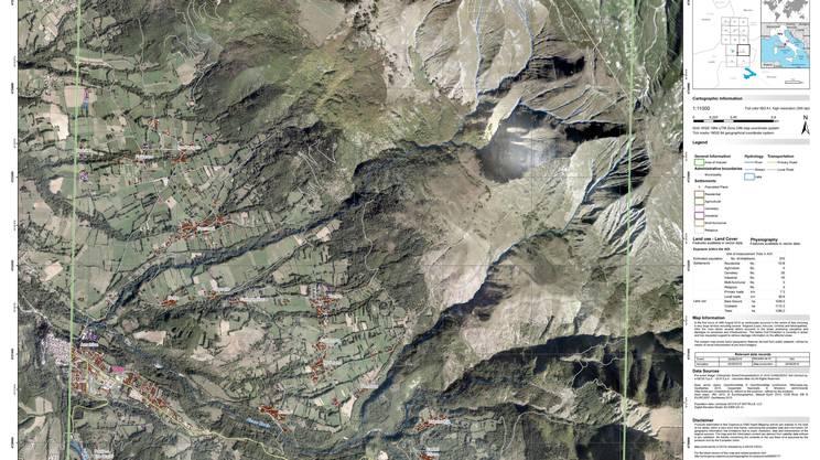Una ripresa satellitare della località di Amatrice. Il sisma ha prodotto nell'area una deformazione del suolo di 20 centimetri