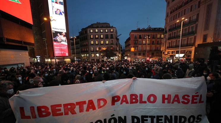 Un'immagine scattata sabato sera a Madrid